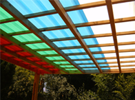 Multi-coloured IBR polycarbonate sheeting for roofing